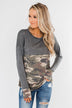 Never Blend In Color Block Top- Camo & Light Charcoal