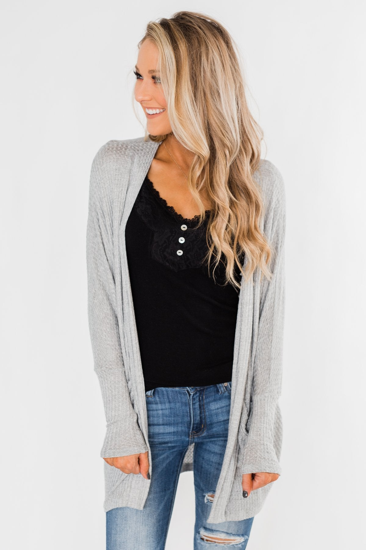 Break Free Waffle Knit Cardigan- Grey