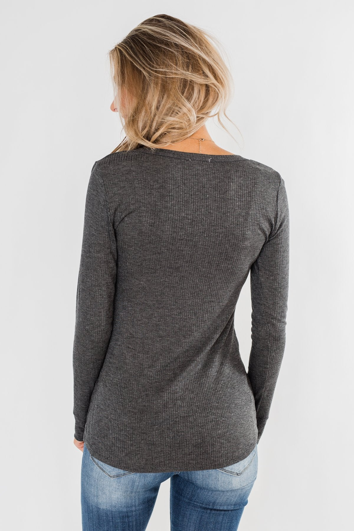 Snap Button Henley Top- Charcoal