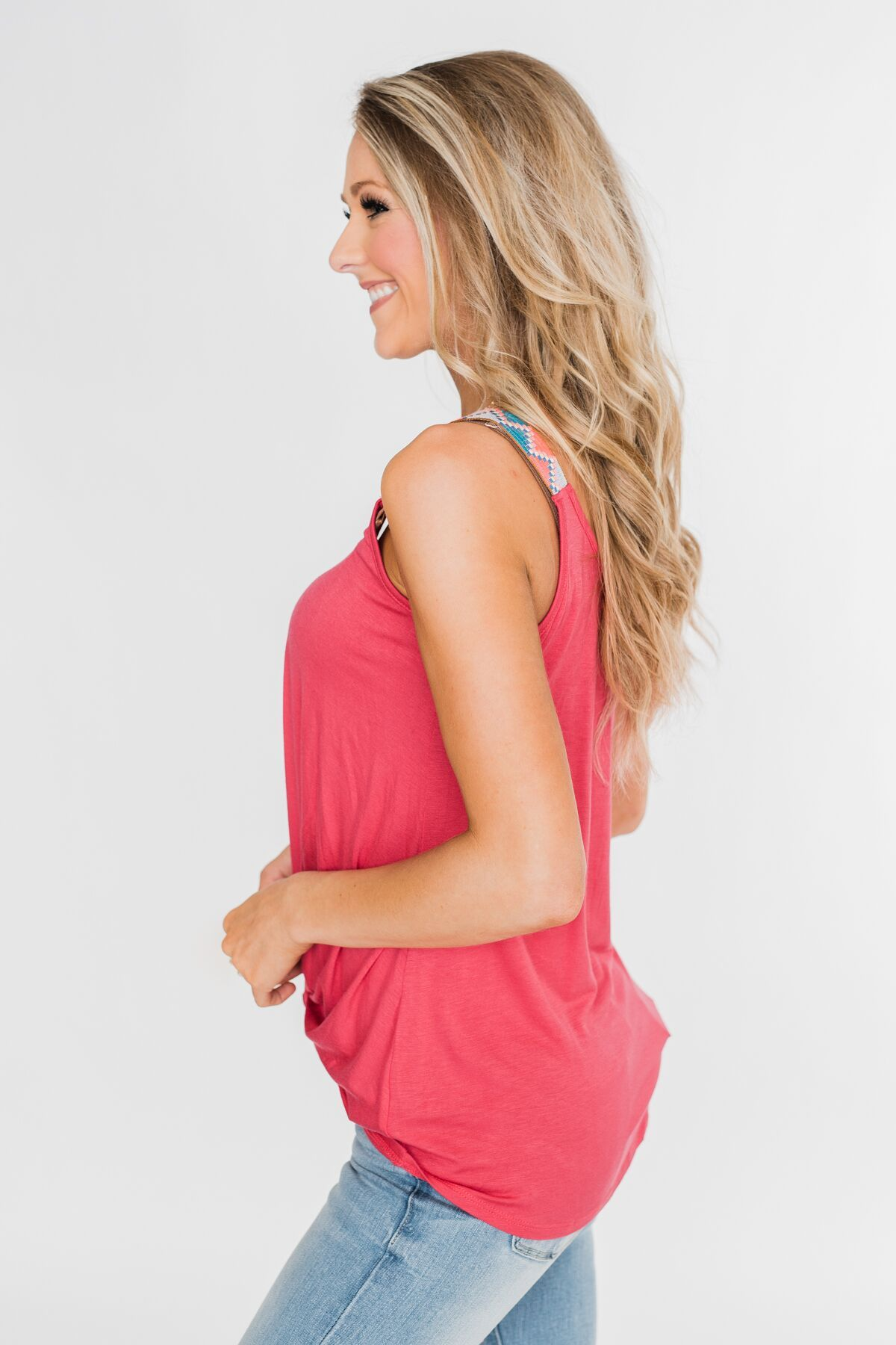 Somewhere Waiting for Me Twist Tank Top- Dark Pink
