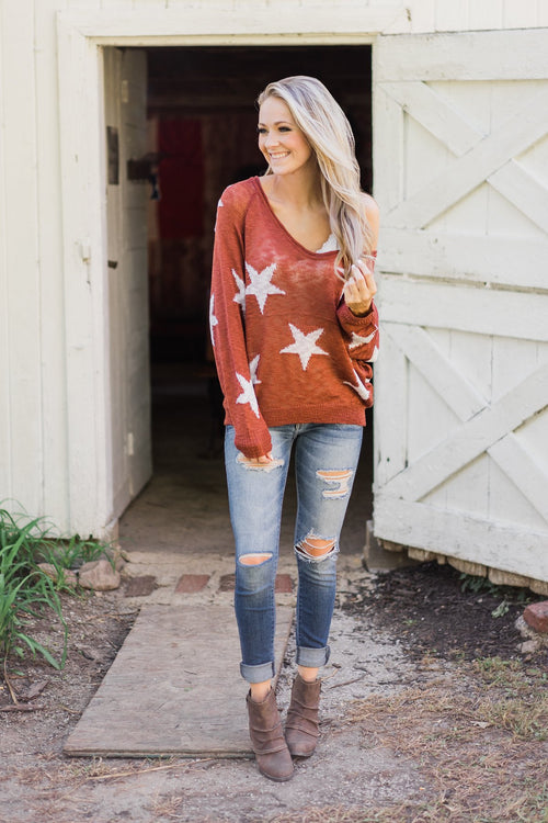Perfect Timing Knitted Star Top- Burnt Orange