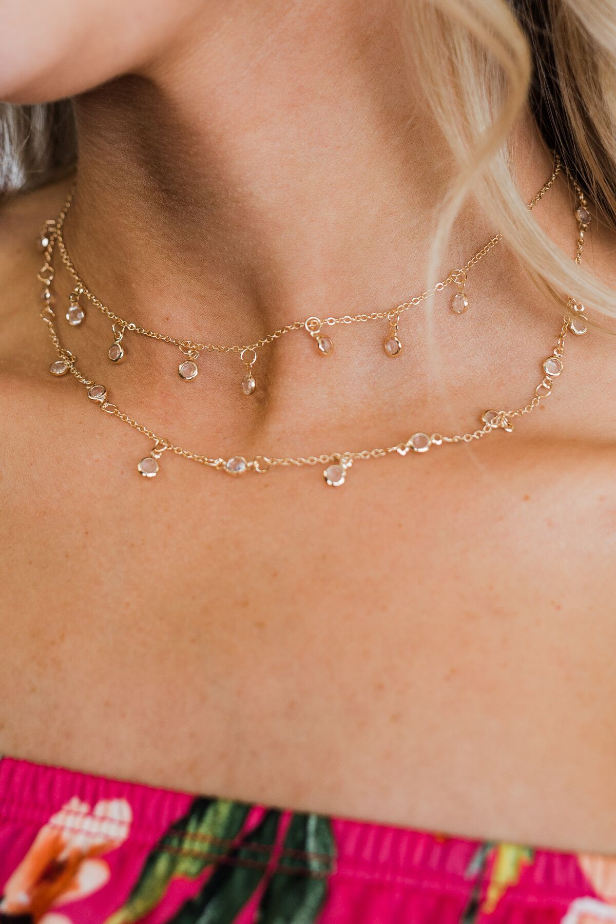Diamond Charm Chain Necklace- Gold