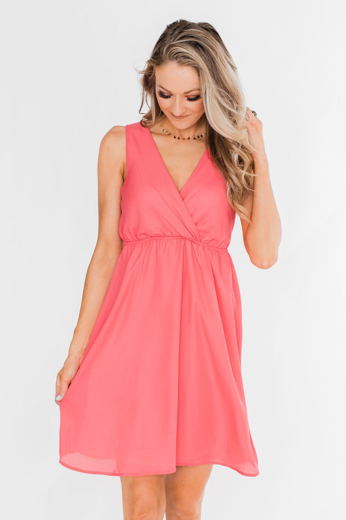 Young Love V-Neck Dress- Coral