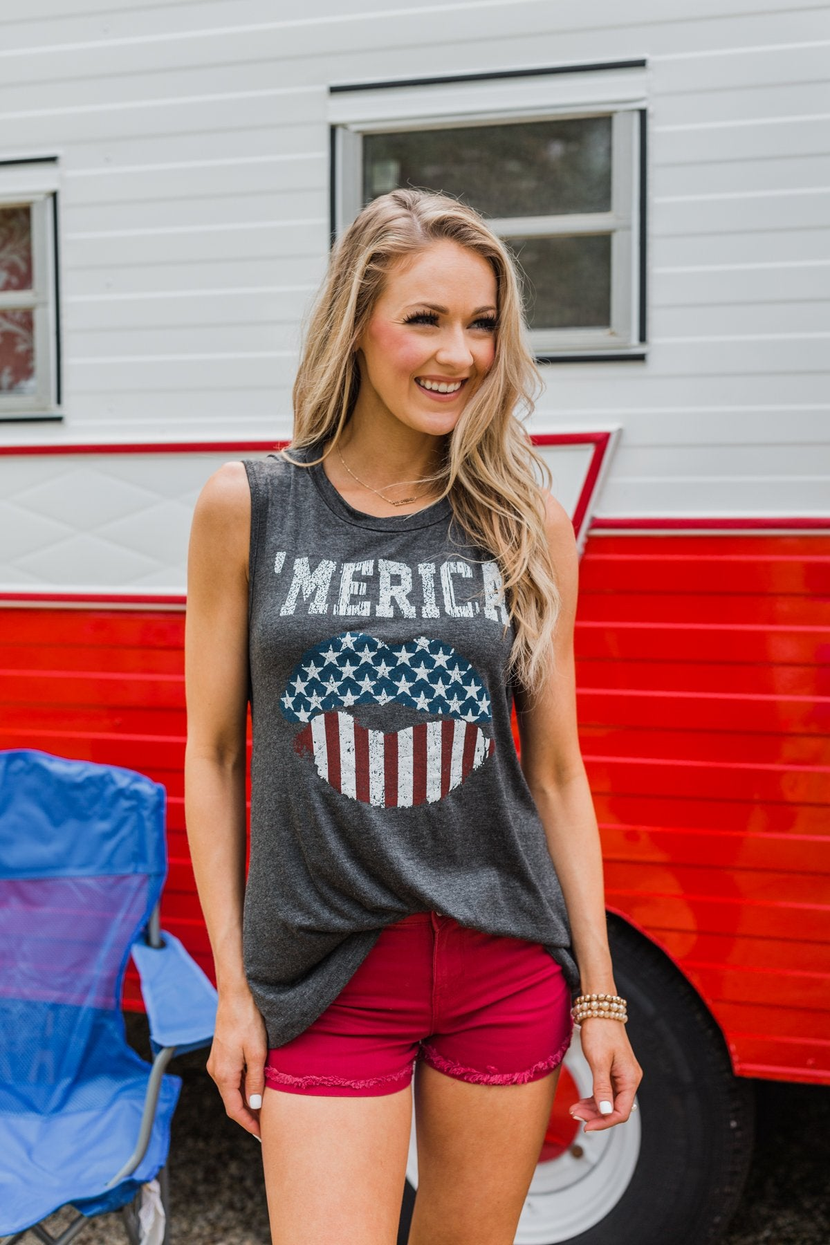 """Merica"" Cut Out Back Tank Top- Charcoal"
