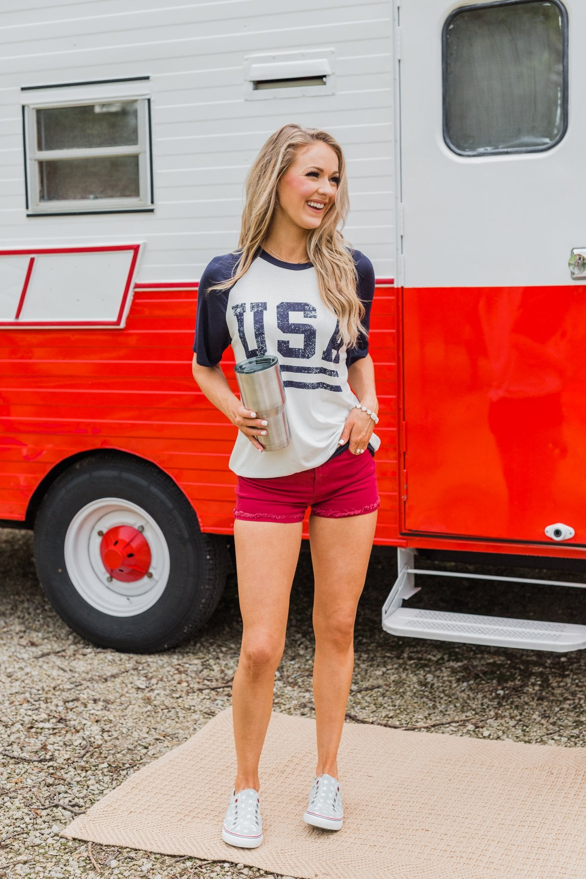 """USA"" Graphic Raglan Top- Navy"