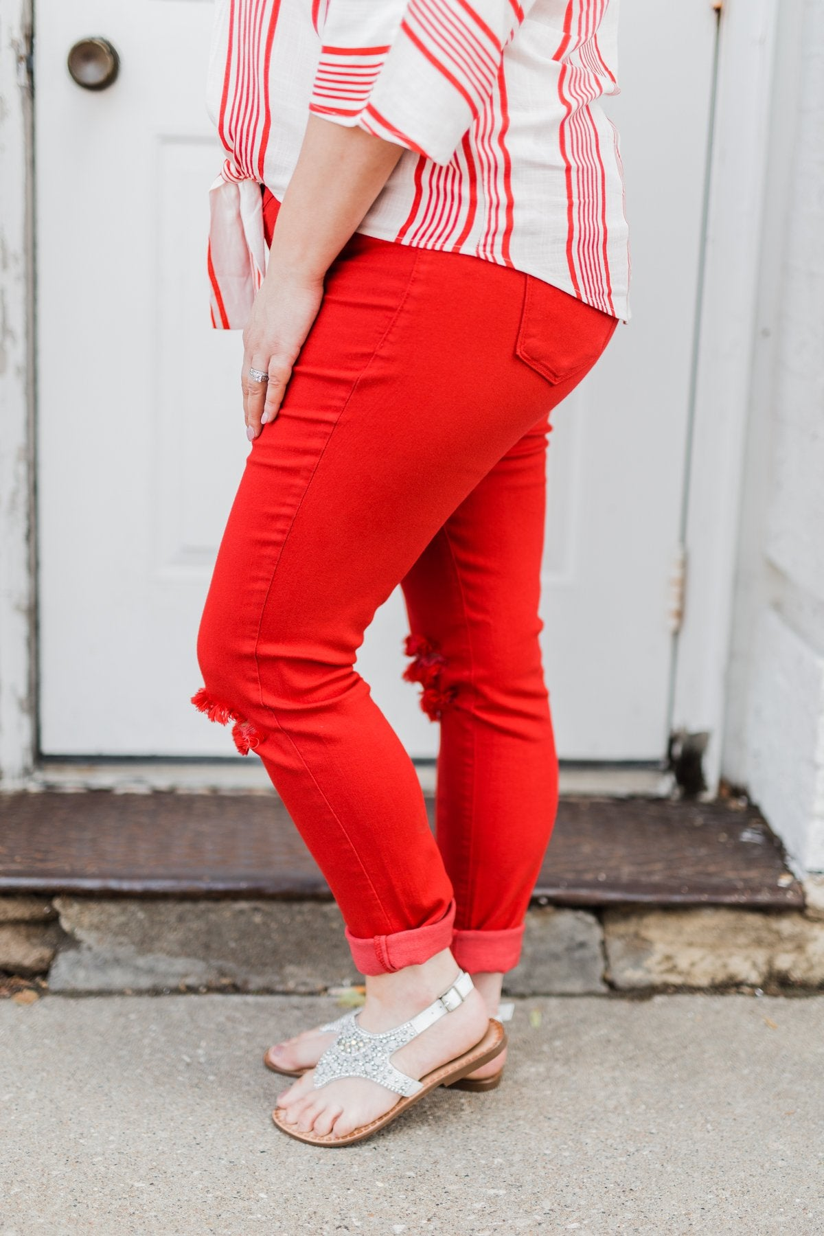 KanCan Colored Skinny Jeans- Scarlet Red