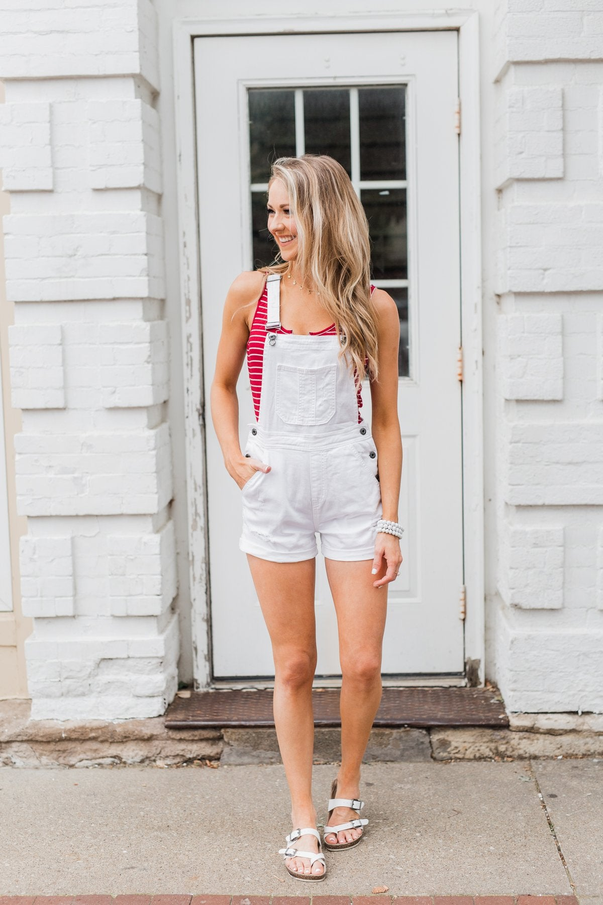 Sneak Peek White Distressed Short Overalls- Natalie