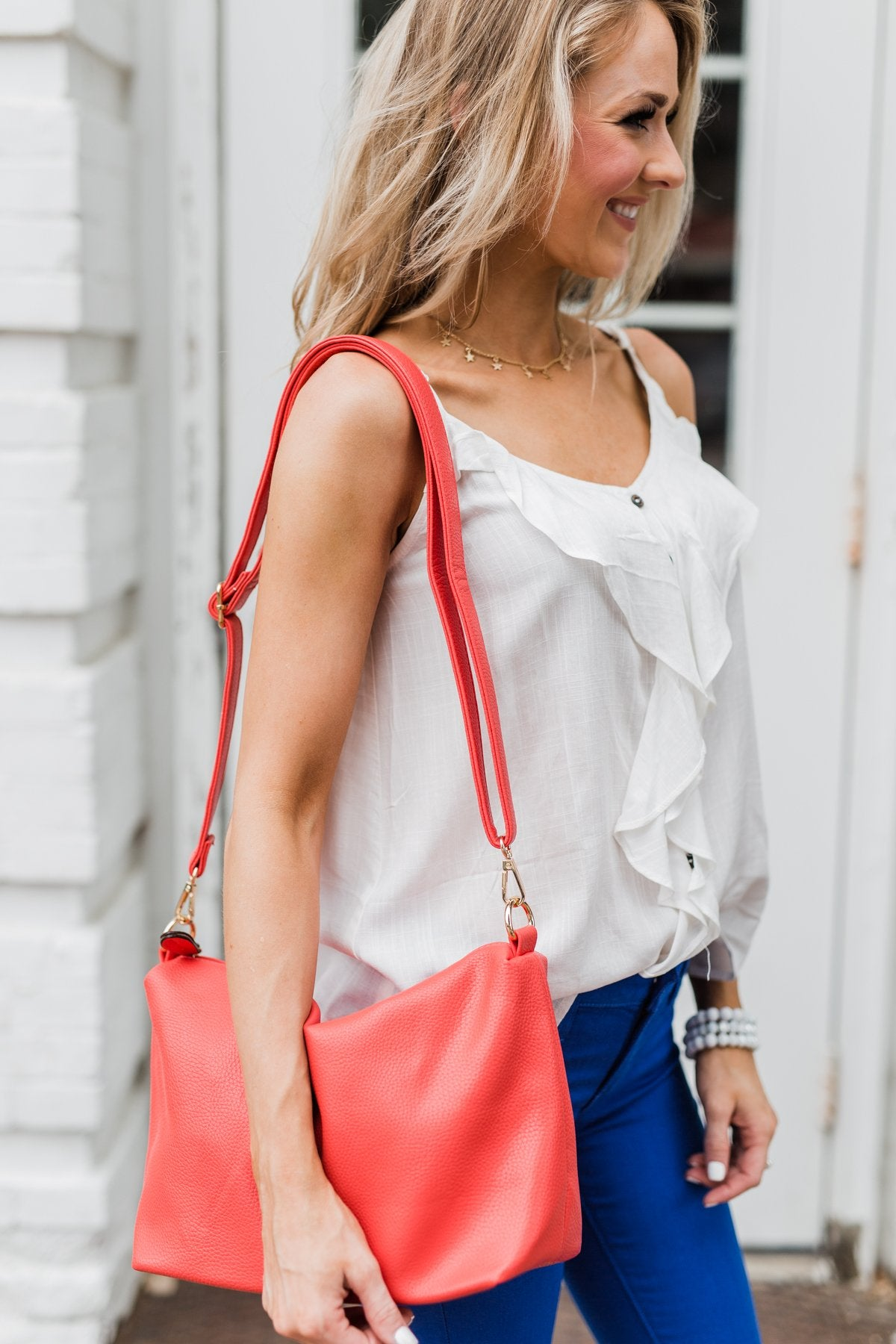 Bring on the Day Zipper Purse- Vibrant Coral