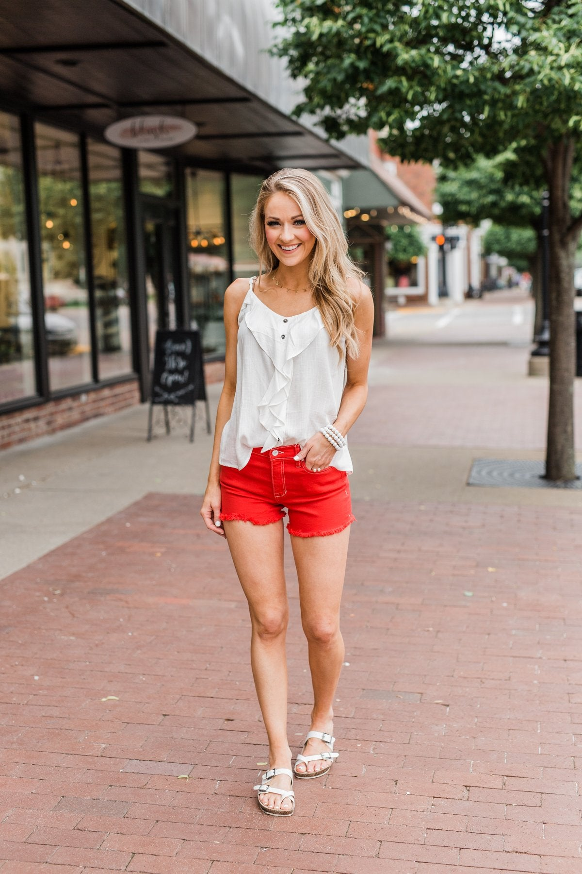 Celebrity Pink Frayed Hem Shorts- Fire Red