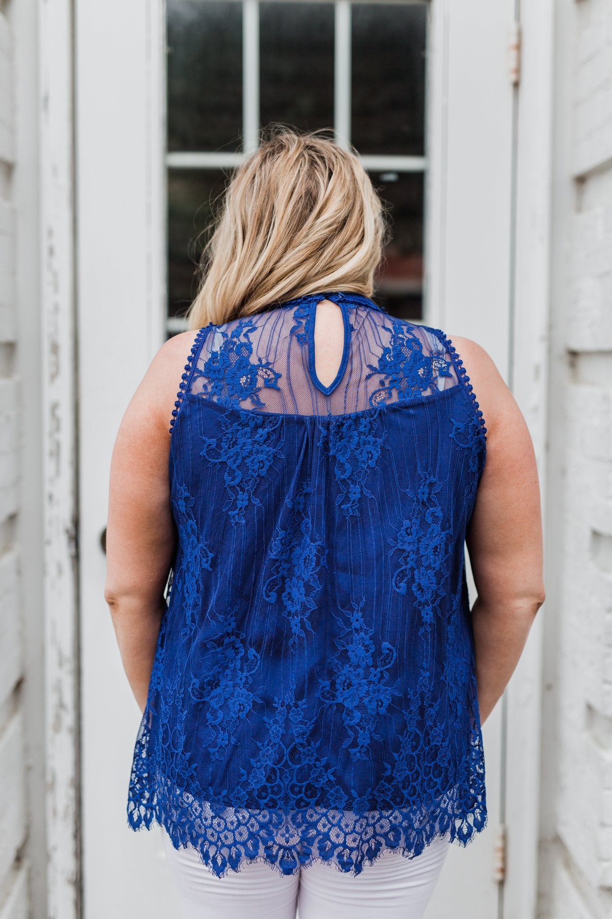 Forever By My Side Lace Tank Top- Royal Blue