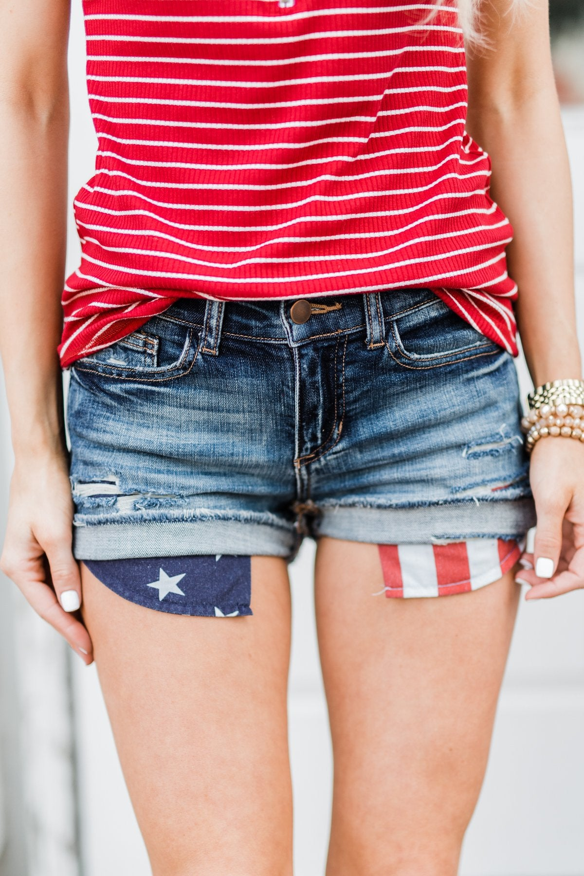 Sneak Peek Flag Pocket Shorts- Medium Wash
