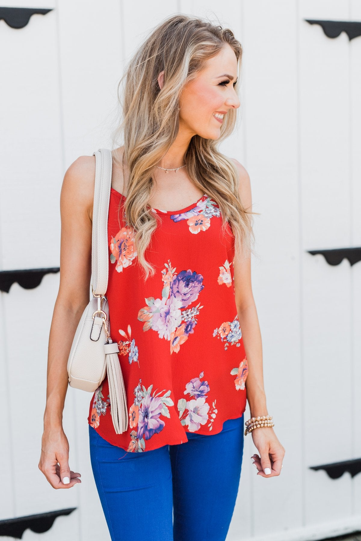 Floral Paradise Tank Top- Red