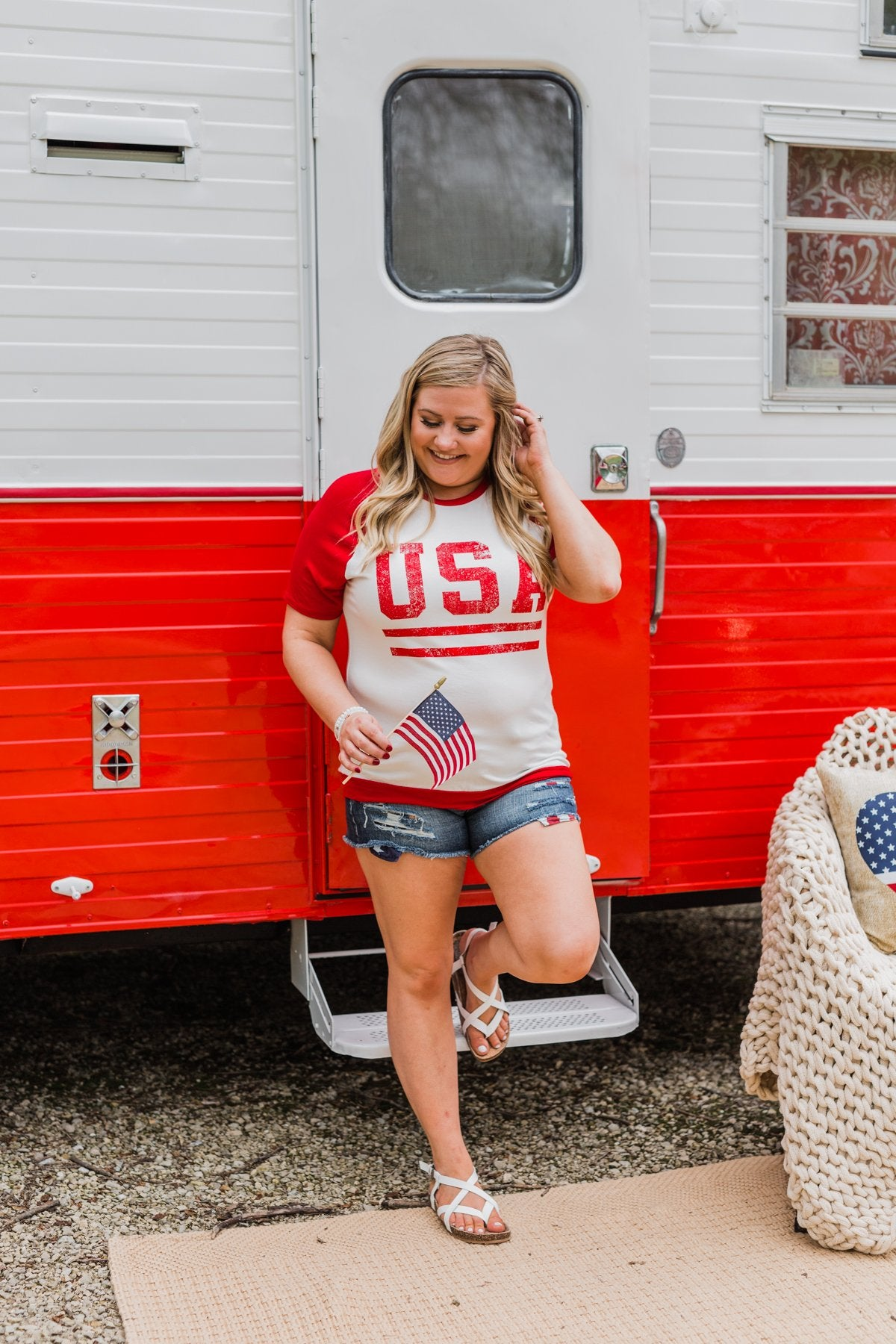 """USA"" Graphic Raglan Top- Red"