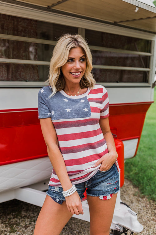 Feels Like Freedom Flag Print Top