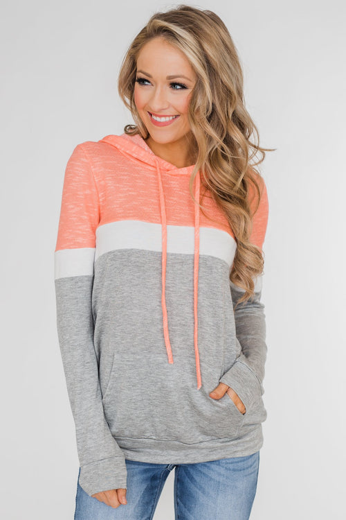 All Of My Days Color Block Hoodie- Peachy Orange