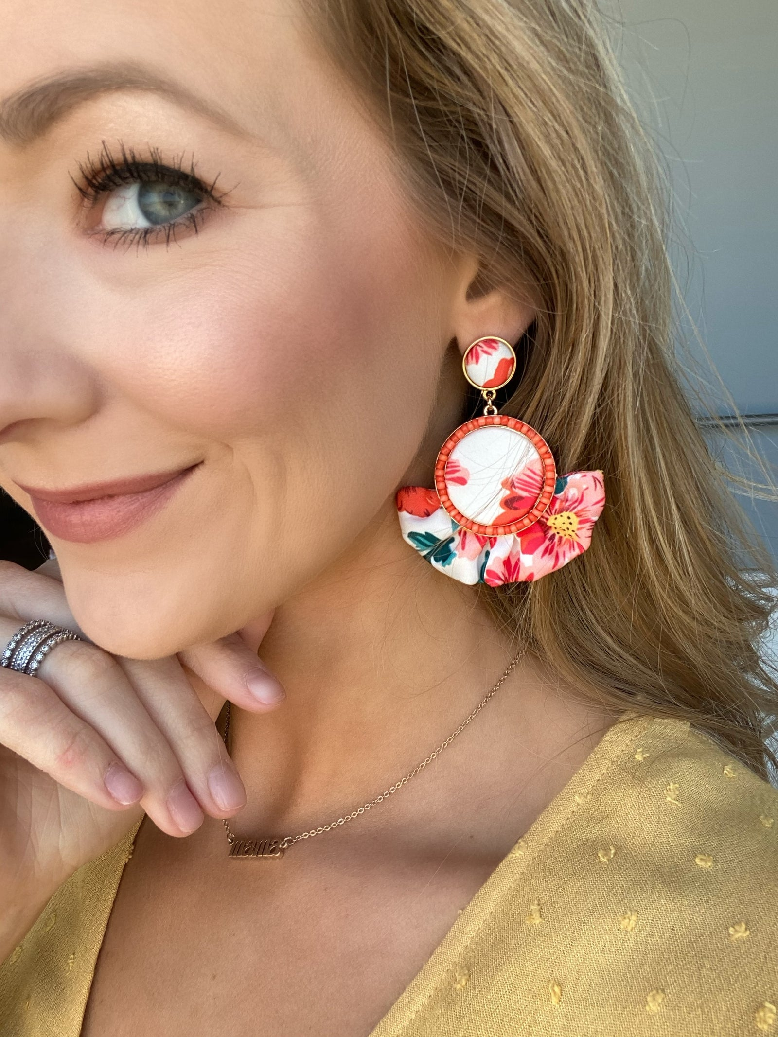 Ruffle Flare Dangle Earrings- White & Coral