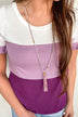 Beaded Genuine Leather Tassel Necklace- Purple