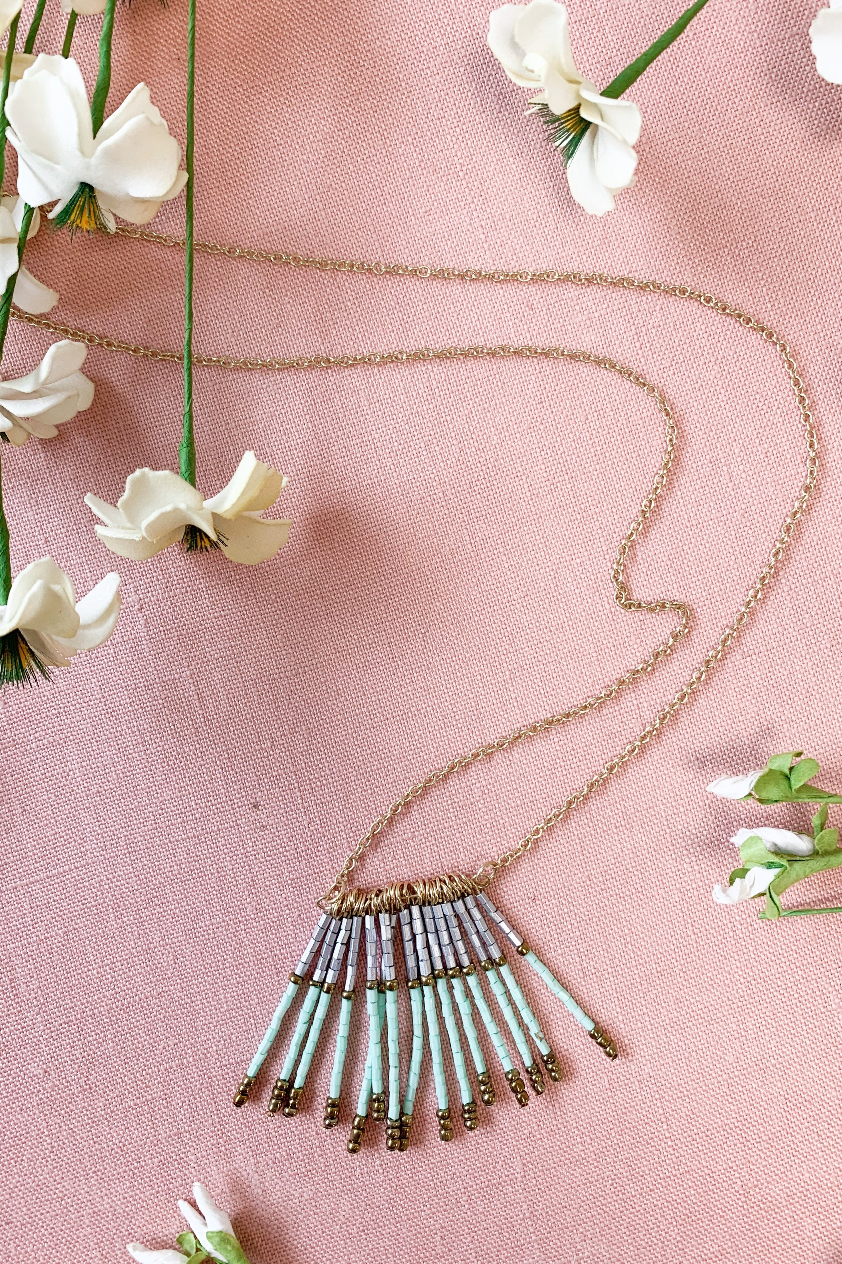 Long Gold Beaded Tassel Necklace- Mint