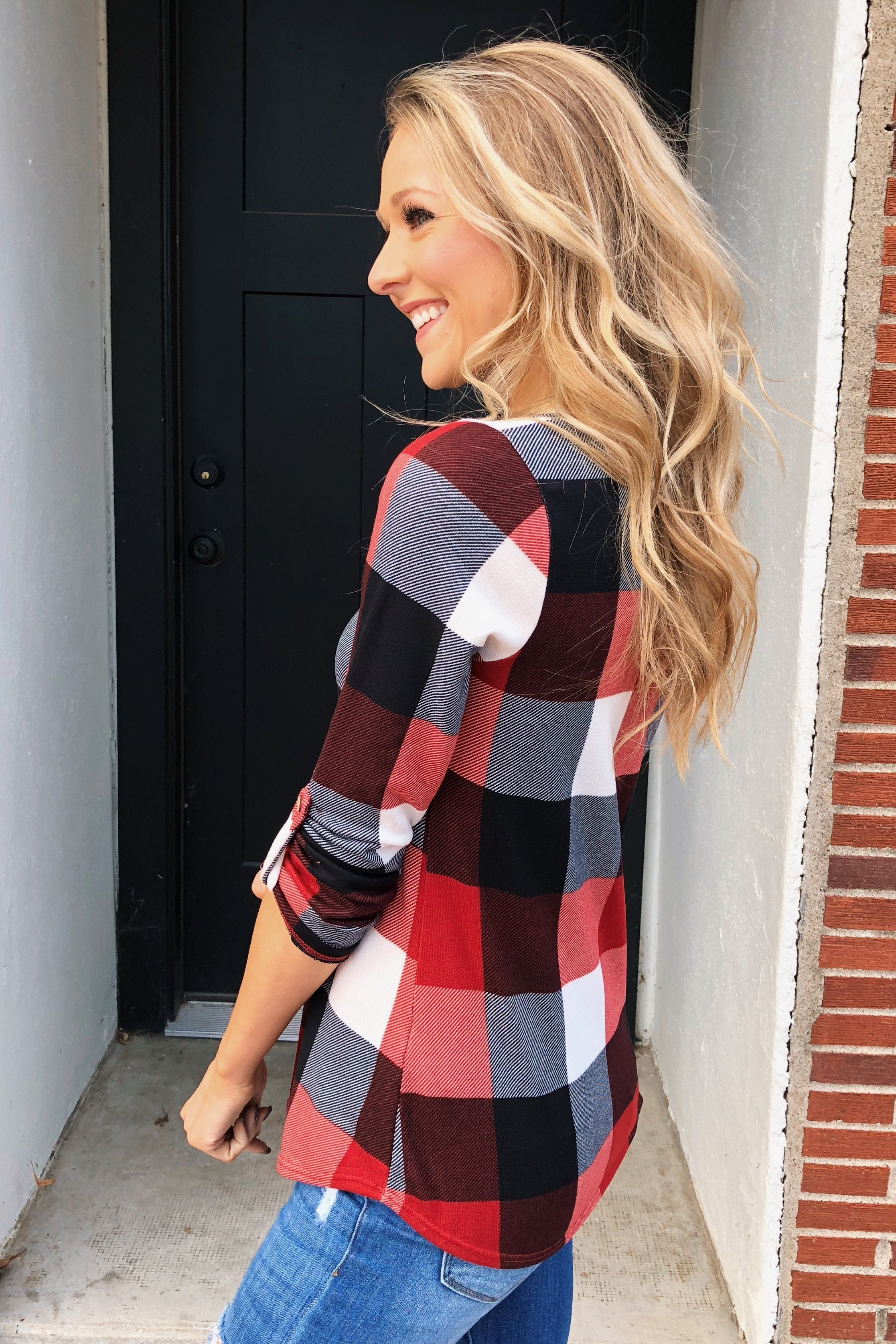 Sincerely Me Plaid V-Neck Top- Red