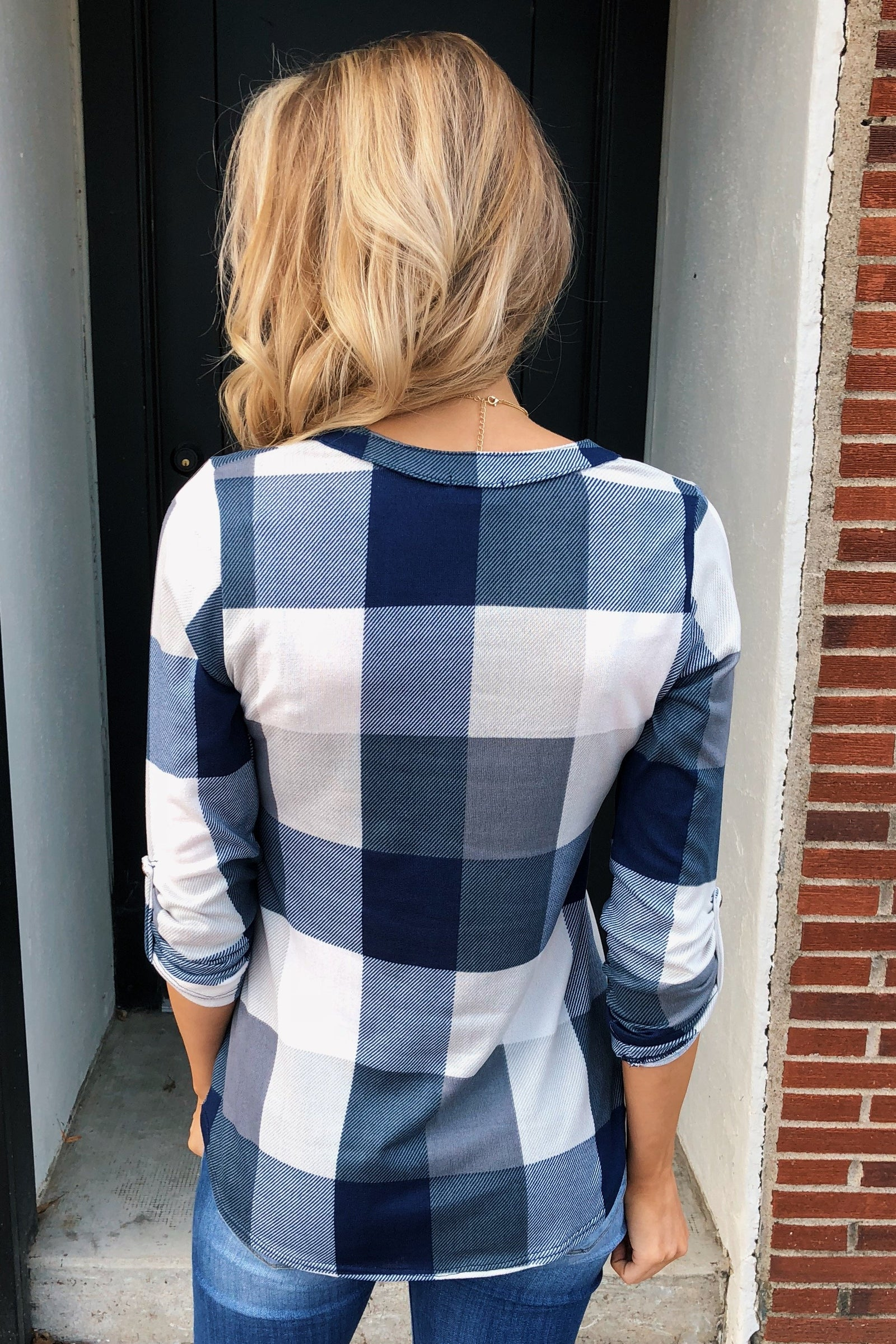 Sincerely Me Plaid V-Neck Top- Blue