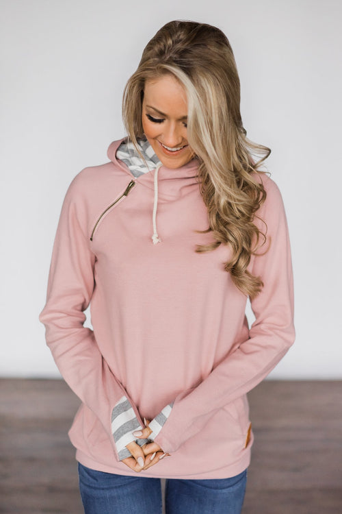 Exclusive Blush & Grey Striped Ampersand Double Hood