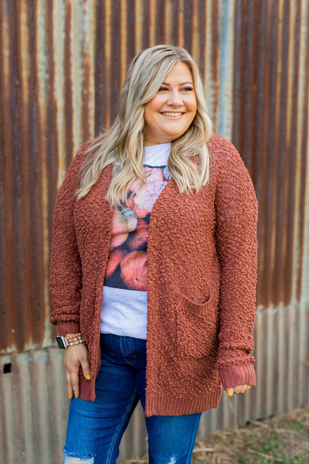 Stealing Glances Popcorn Knit Cardigan- Deep Clay
