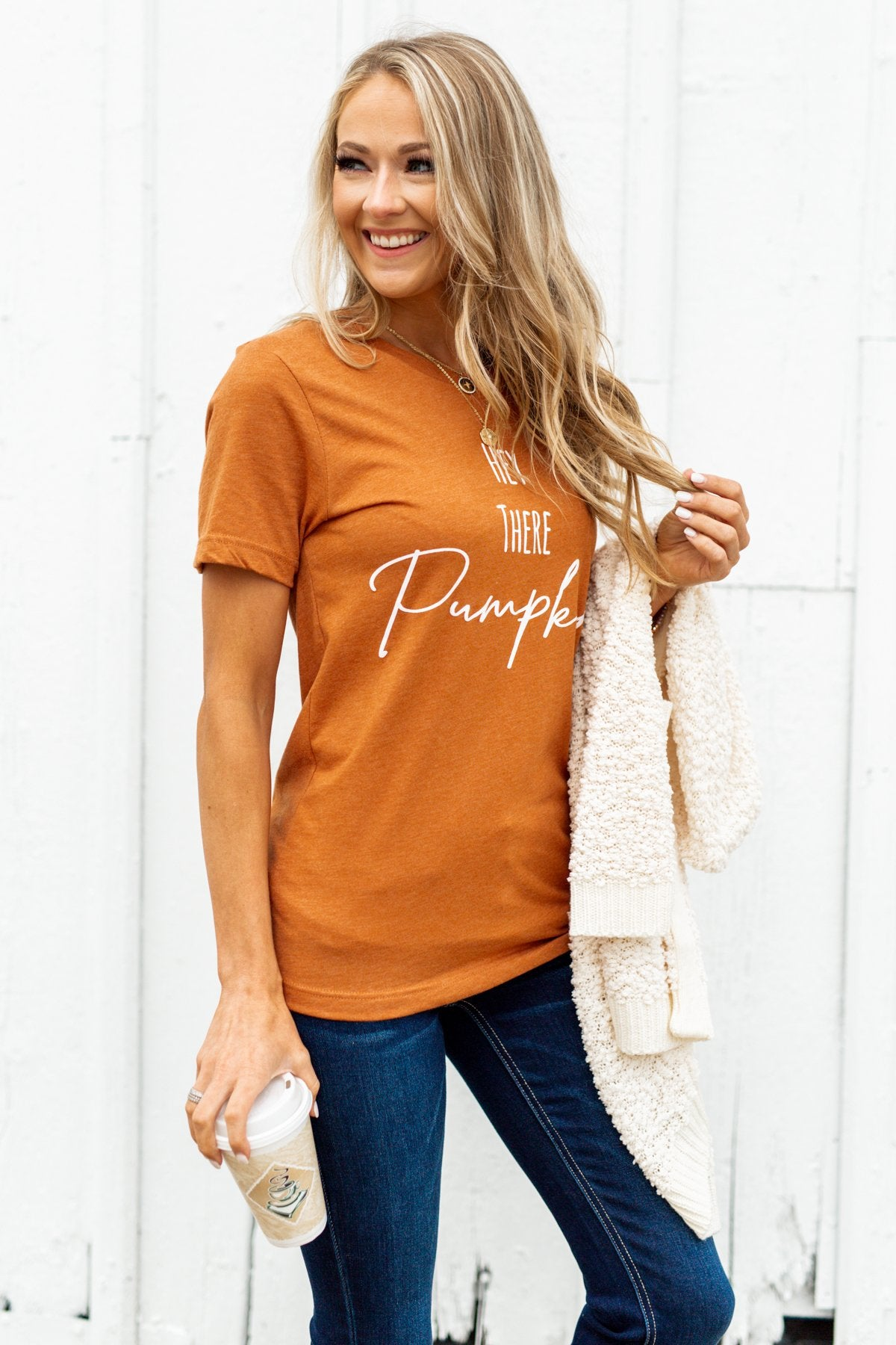 """Hey There Pumpkin"" Graphic Tee- Copper"