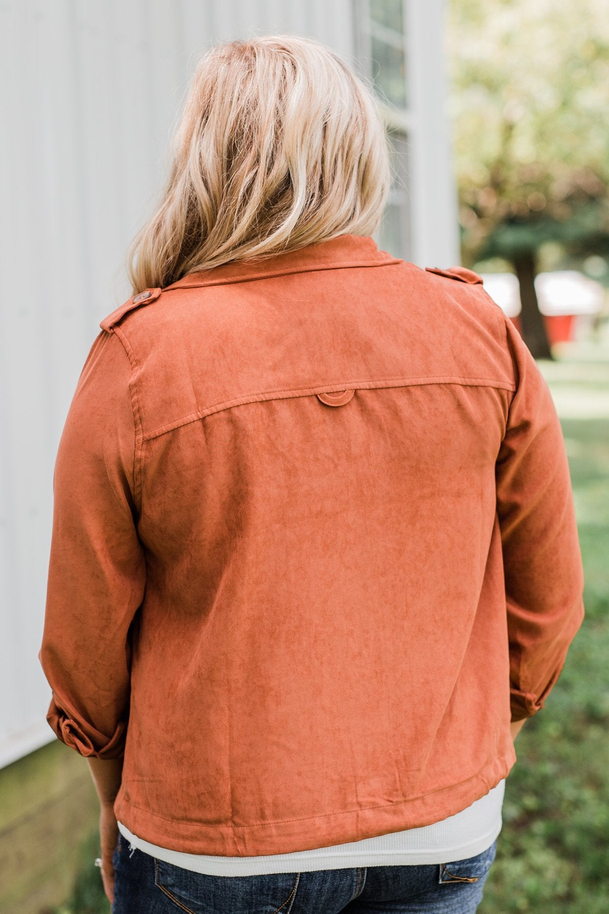 One Thing Right Lightweight Zip Up Jacket- Rust