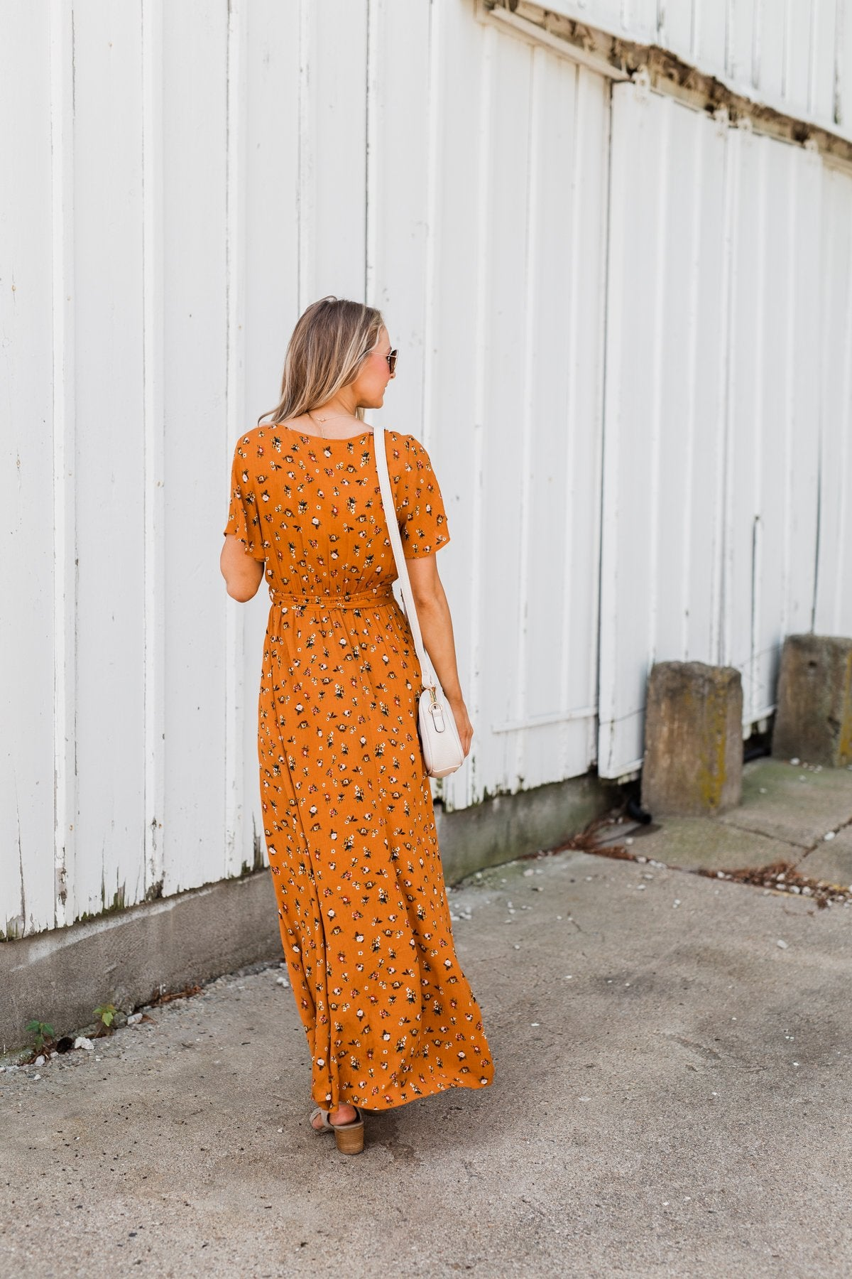 Can't Help But Stare Floral Maxi Dress- Burnt Orange