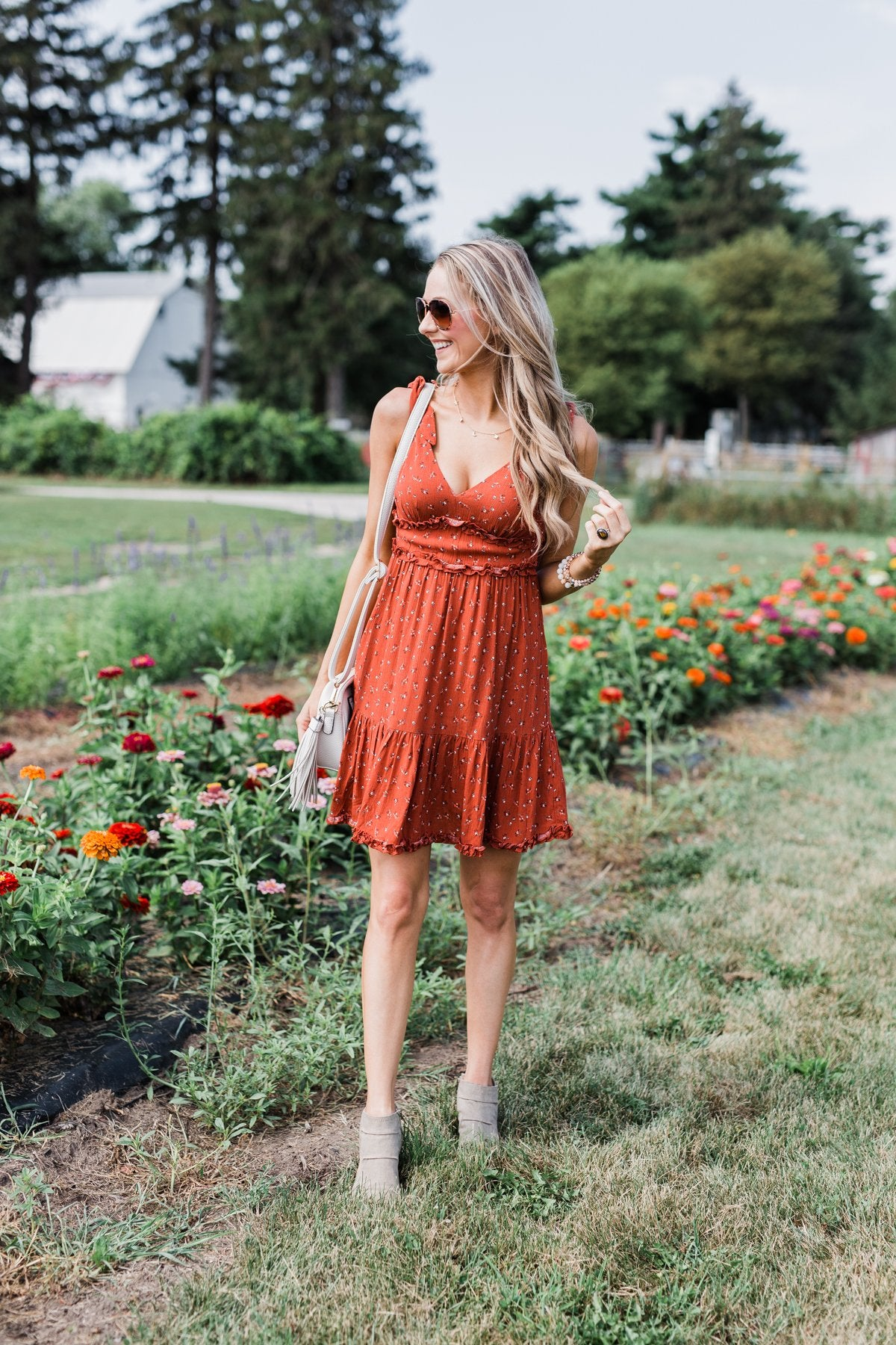 The Beautiful Life Floral Ruffle Dress- Rust