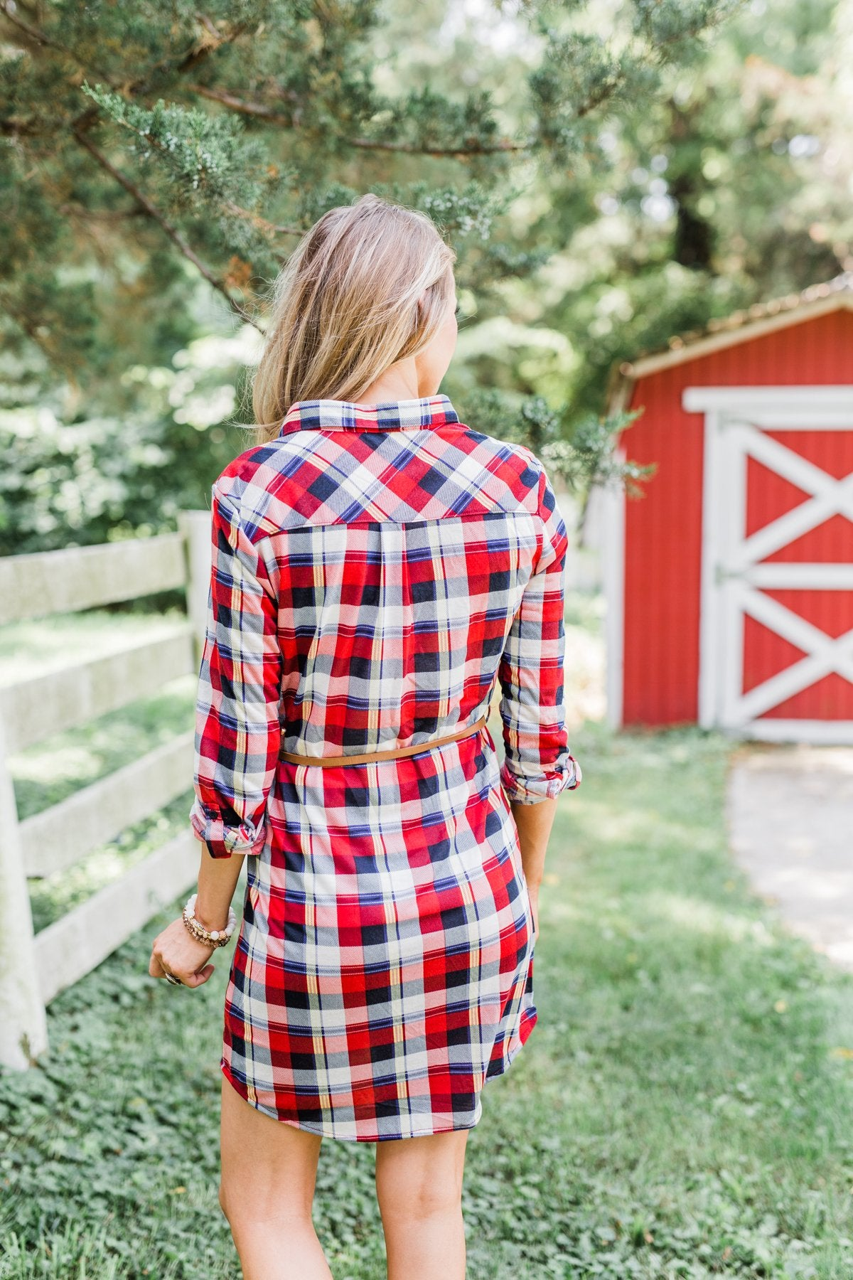 Working It Flannel Button Dress- Red & Blue