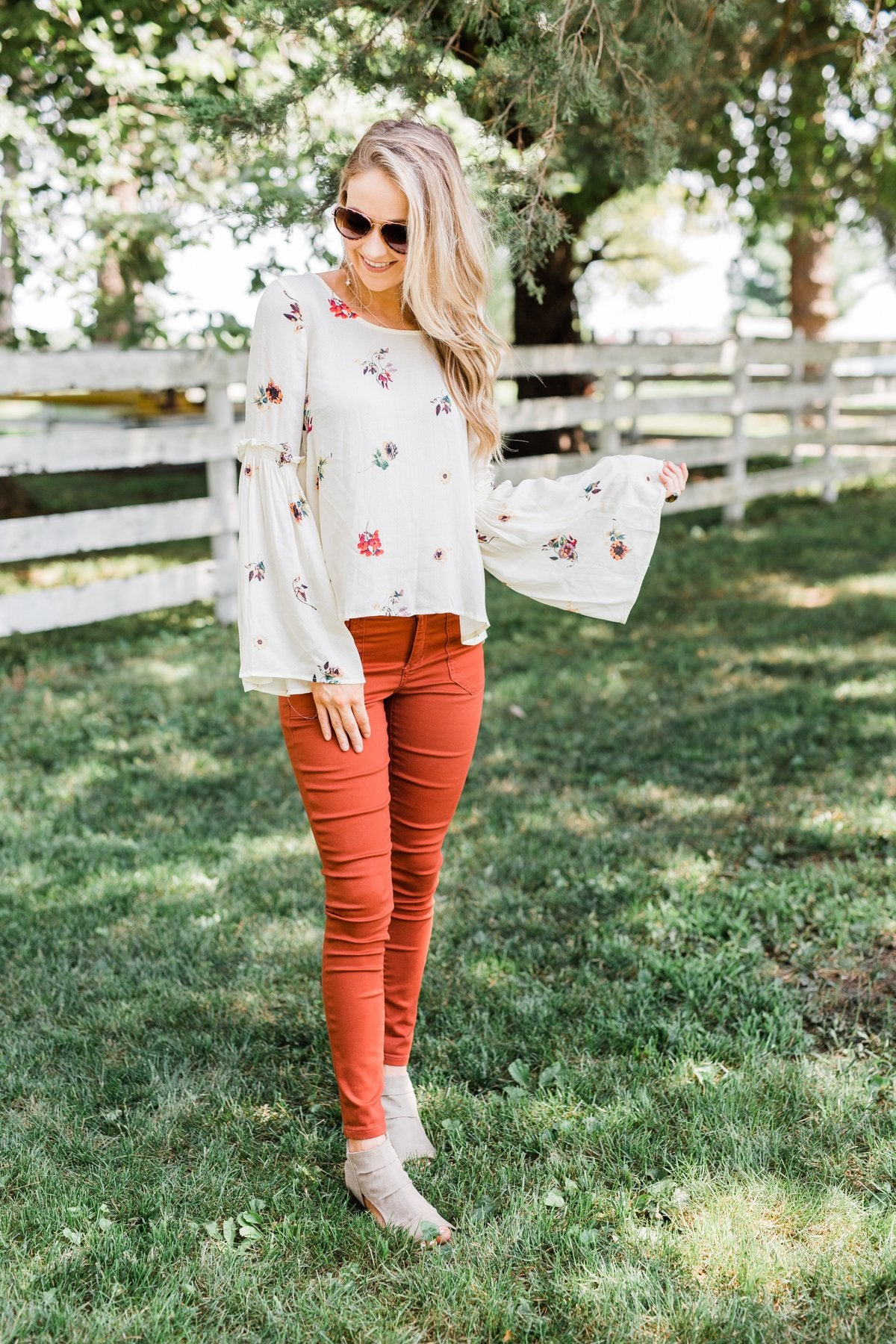 Just The Way You Are Floral Blouse- Ivory