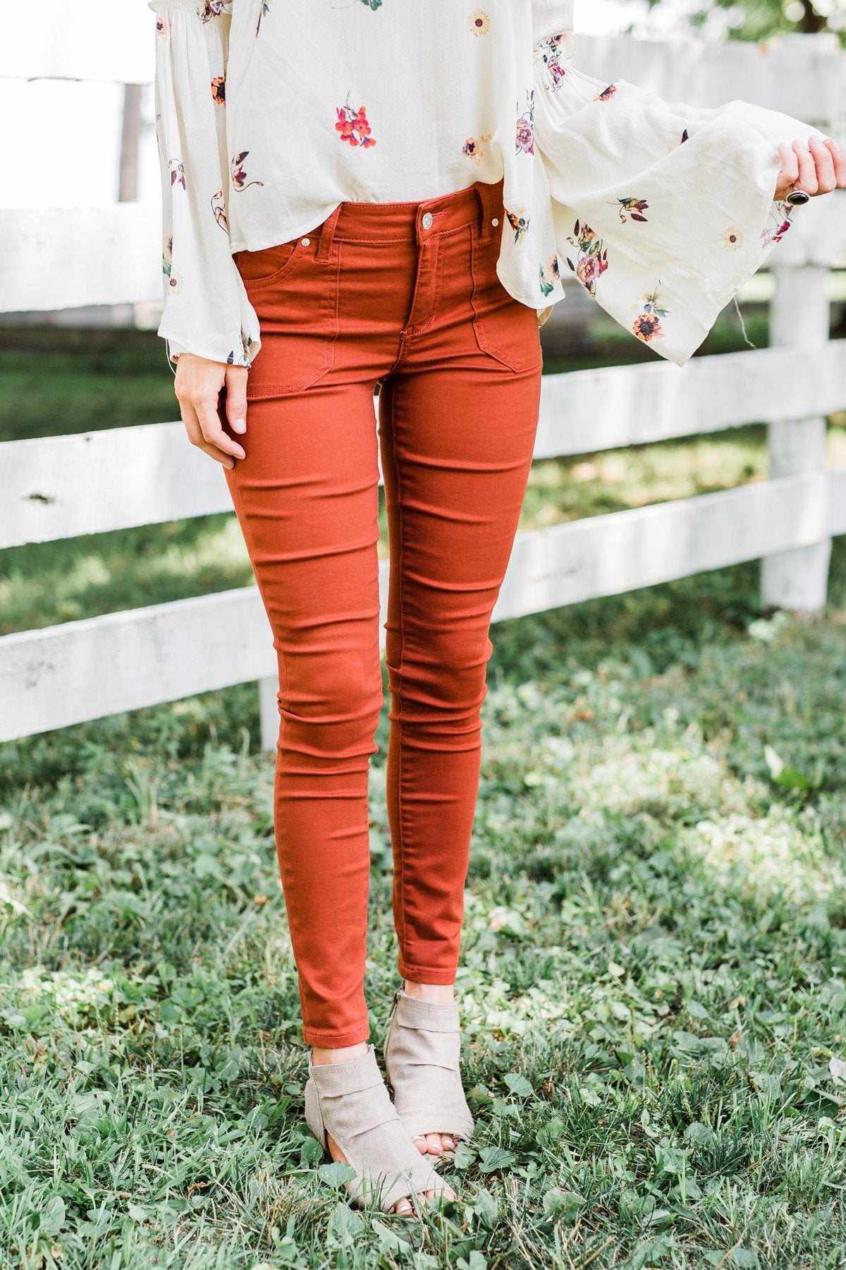 Celebrity Pink Ankle Skinny Jeans- Dark Rust