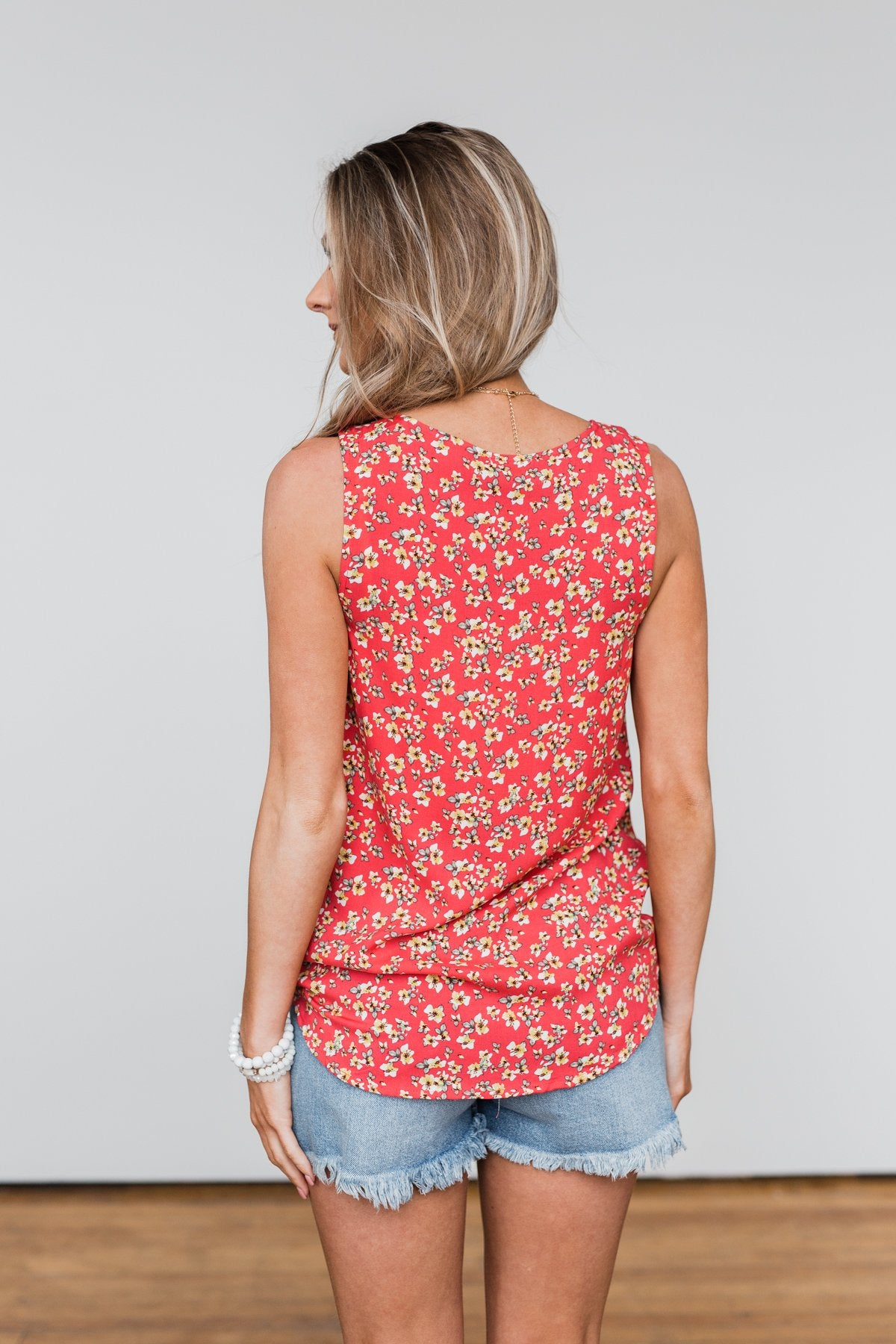 Knowing You Floral Wrap Tank Top- Coral