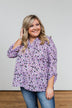 Calling Out To You Printed Blouse- Purple