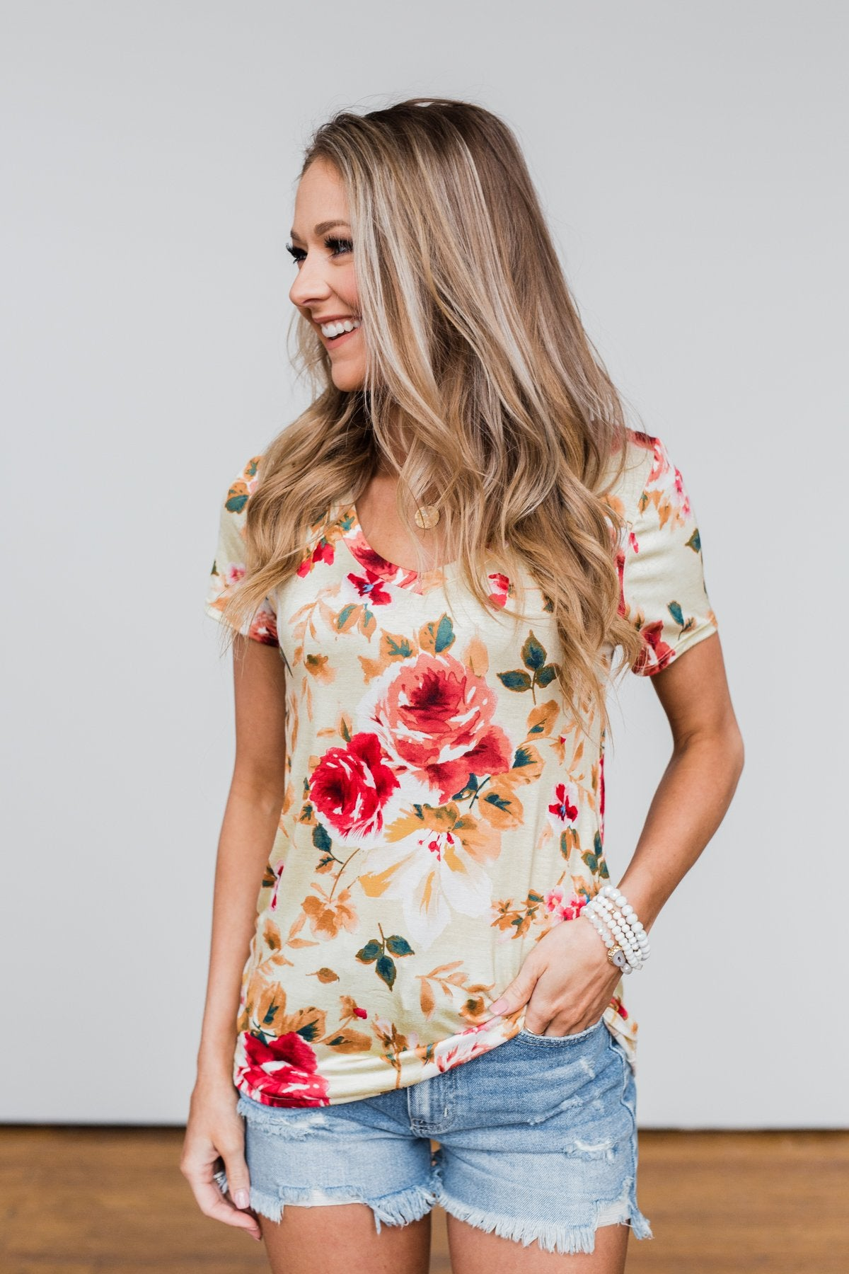 Sun's Still Shining Floral V-Neck Top- Soft Yellow