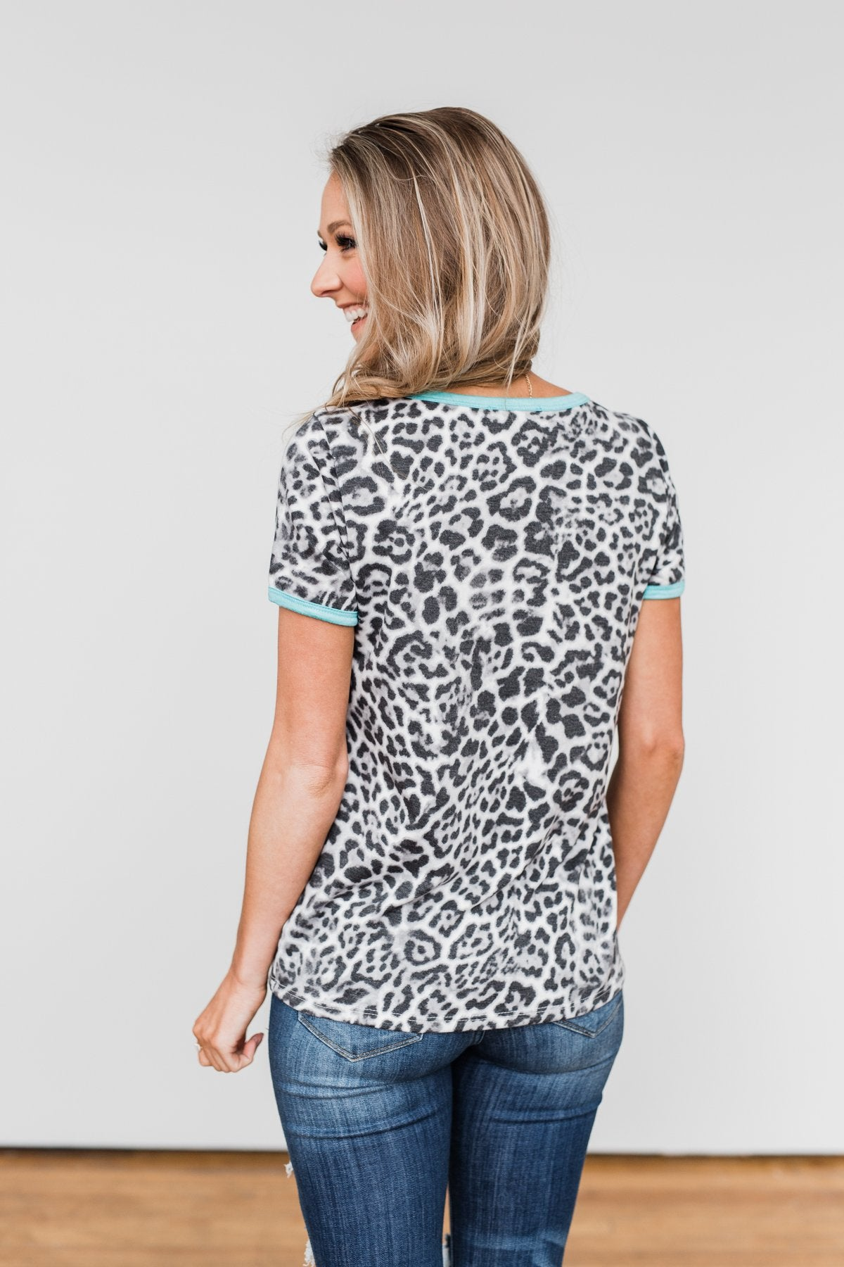 Take My Breath Away Leopard Top- Grey & Mint Blue