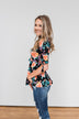 Day Dreaming Floral Cinched Top- Black