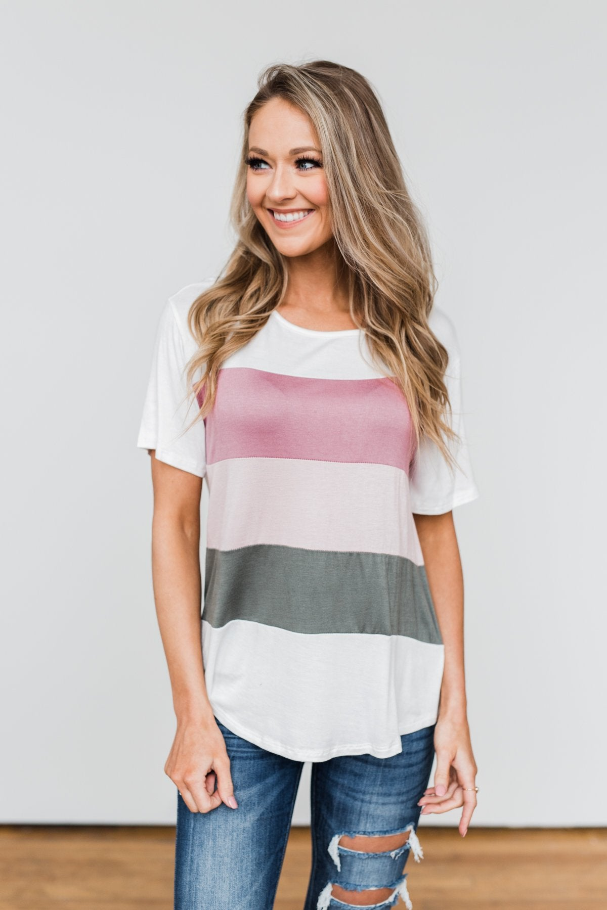 Day By Day Color Block Top- Mauve & Olive