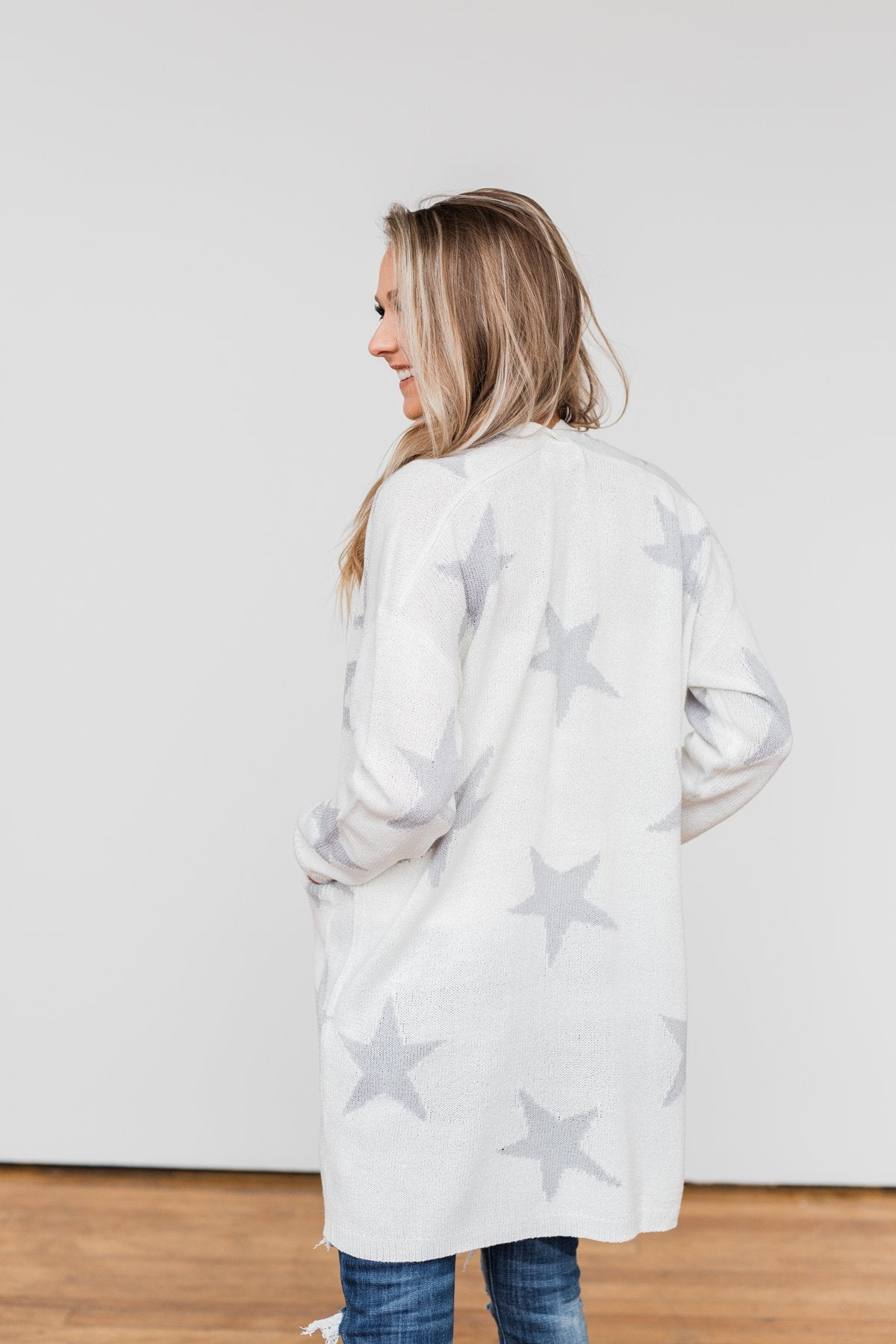 Shoot For The Stars Knit Cardigan- Ivory & Grey