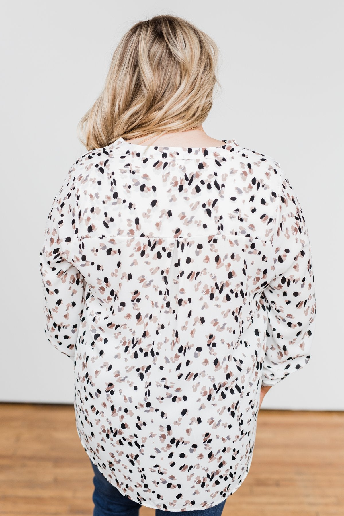 Calling Out To You Printed Blouse- Ivory