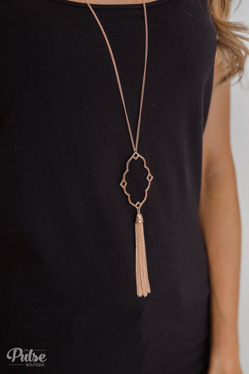 Pendant Chain Tassel Necklace- Rose Gold