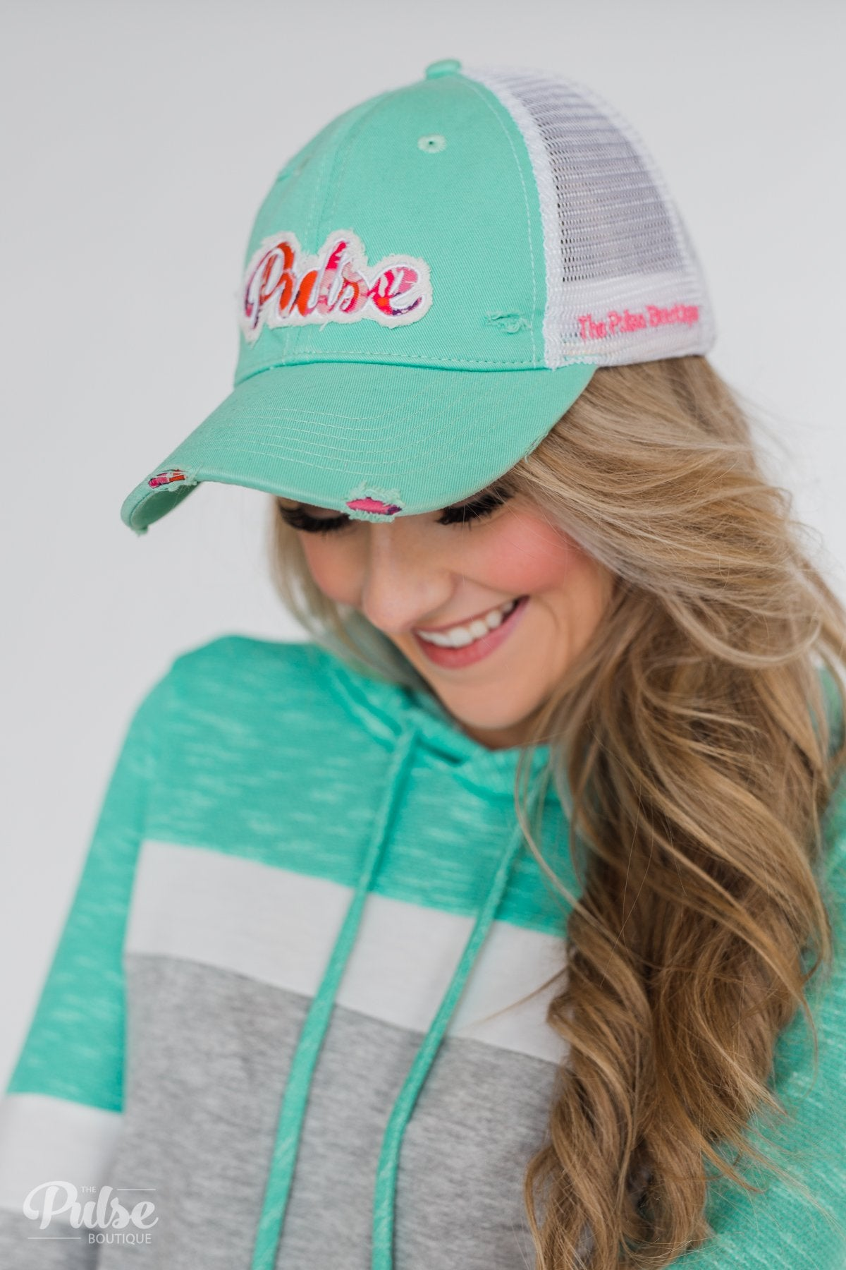 Pulse Distressed Ball Cap- Turquoise