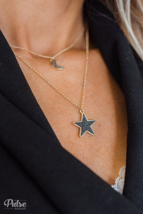 Light Up The Night Star & Moon Necklace- Black & Gold