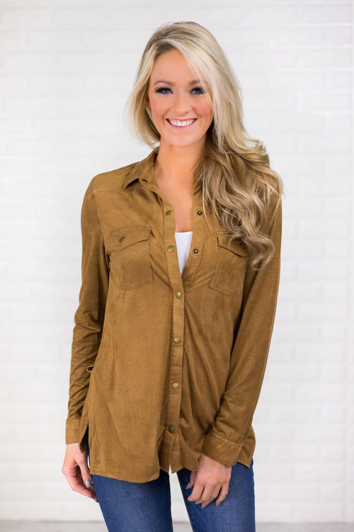 Tan Suede Button Up Top