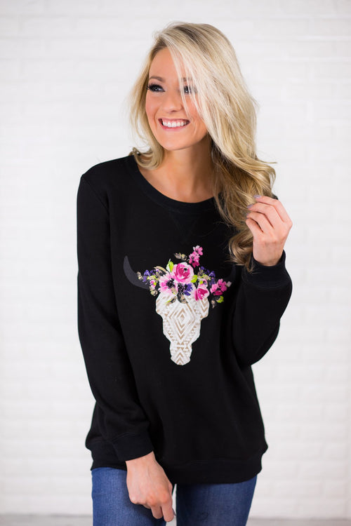 Black Cow Skull Sweatshirt