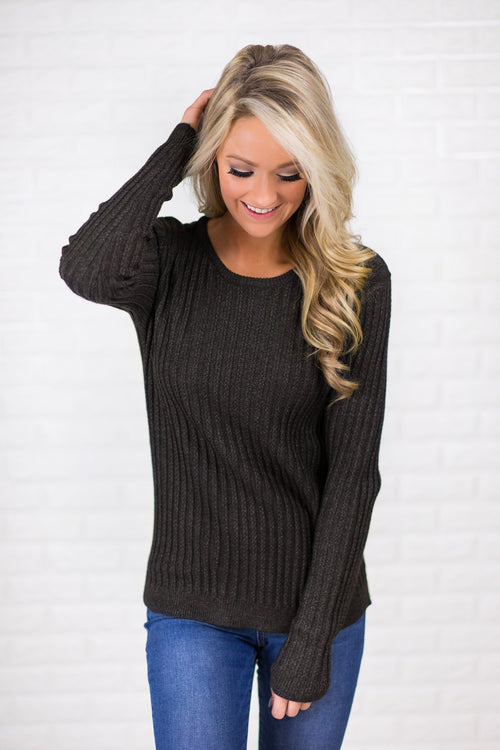 Long Sleeve Black Knit Top