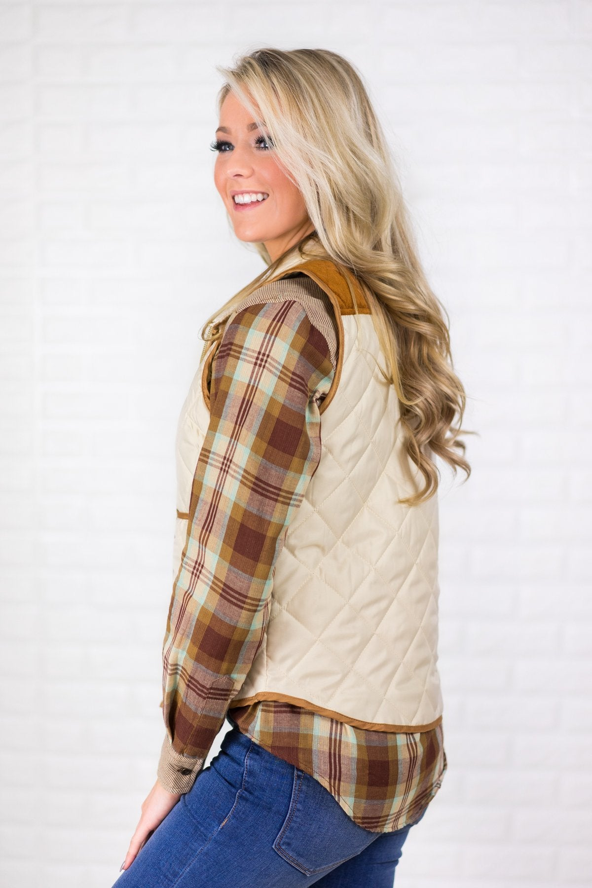 Cream & Suede Zip Up Vest