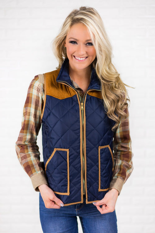 Navy & Suede Zip Up Vest