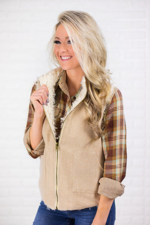 Cream Reversible Faux Fur Vest